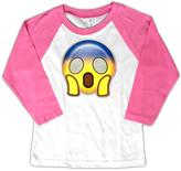 Micro Me White & Pink Surprise Emoji Raglan Tee - Toddler & Girls