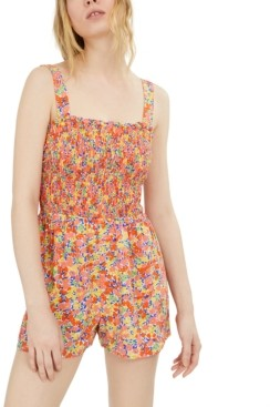 Fishbowl Juniors' Floral-Print Smocked Romper