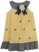 Rare Editions Bumblebee Gingham Seersucker Dress, Little Girls