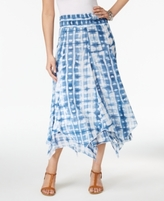 Style&Co. Style & Co Style & Co Petite Cotton Tie-Dyed Handkerchief-Hem Skirt, Created for Macy's