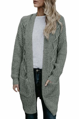 Elapsy Womens Open Front Knit Long Cardigan Sweaters Plus Size 22 24 Grey