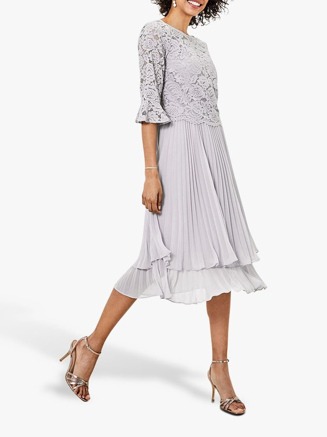 Oasis Pleated Skirt Lace Top 2-In-1 Midi Dress
