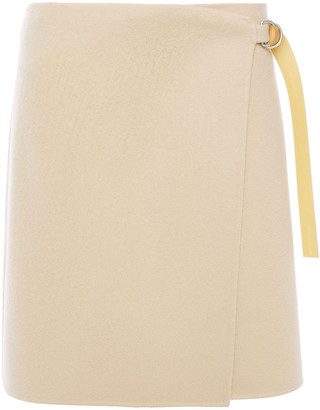 Helmut Lang Wool And Cashmere-blend Felt Mini Wrap Skirt