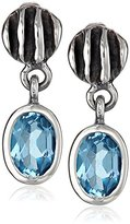 "Zina Sterling Silver ""Waves"" Lentil Blue Topaz Drop Earrings"