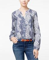 Tommy Hilfiger Printed Split-Neck Shirt