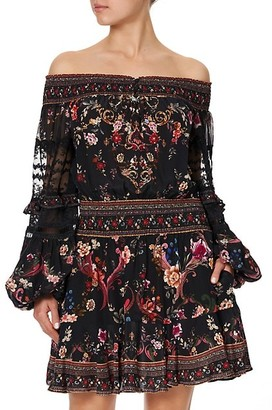 Camilla Floral Off-The-Shoulder Puff-Sleeve Mini A-Line Dress