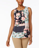 Charter Club Petite Printed Pleat-Neck Top, Only at Macy's