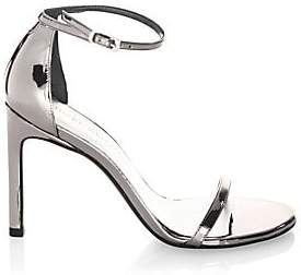 Stuart Weitzman Women's Nudistsong Ankle-Strap Metallic Leather Sandals
