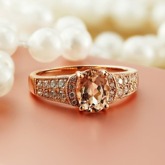 Auriya Vintage 1 1/5ct Oval Morganite and 1/4ctw Diamond Engagement Ring 10K Rose Gold