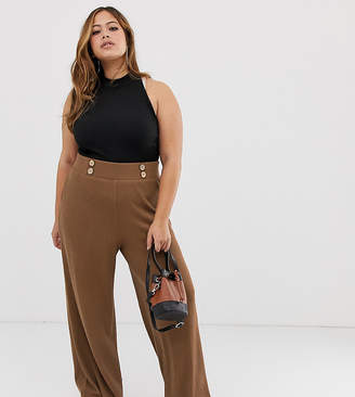 Asos DESIGN Curve wide leg trousers in textured rib with natural buttons-Brown
