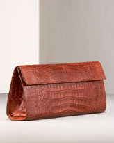 East-West Croc Clutch