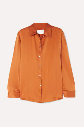 Asceno ASCENO - Washed-silk Pajama Shirt - Orange