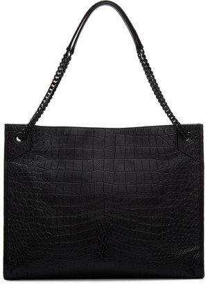Saint Laurent Black Croc Large Niki Shopping Tote