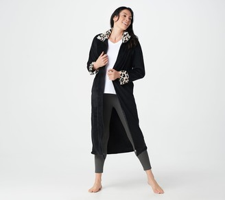 Stan Herman Classic Plush Full Zip Robe with Faux Fur Trim