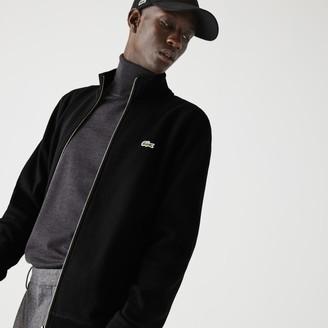 Lacoste Men's Zippered Stand-Up Collar Pique Fleece Jacket