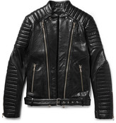 Balmain Quilted Textured-Leather Biker Jacket