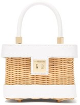 Sparrows Weave - The Cubist Leather And Wicker Bag - Womens - White Multi