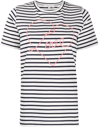 Chinti and Parker Love print striped T-shirt