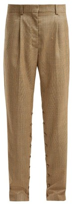 Hillier Bartley Button Seam Check Wool Trousers - Womens - Brown Multi