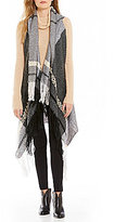 Collection 18 Fringed Colorblocked Plaid Shawl Vest