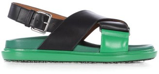 Marni Fussbett Smooth Leather Sandals - Black Green