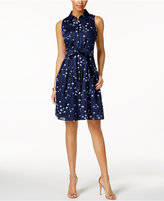 Nine West Printed Belted Shirtdress