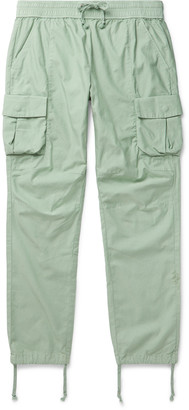 John Elliott Cotton-Sateen Cargo Trousers - Men - Green
