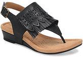 Comfortiva Shayla Leather Fringe Sling Back Low Wedge Sandals
