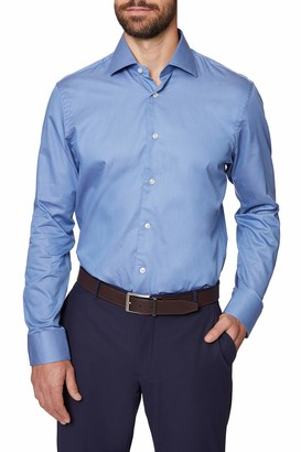 Hickey Freeman Silver Men's Contemporary Fitted Long Sleeve Dress Shirt