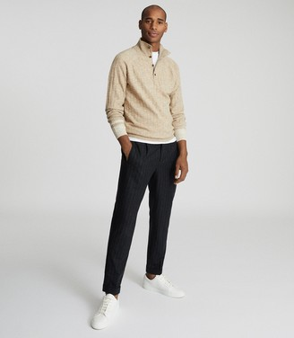 Reiss AIDEN RIBBED FUNNEL NECK JUMPER Oatmeal