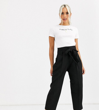 Asos DESIGN Petite tailored tie waist tapered ankle grazer trousers-Black