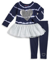 Flapdoodles Girls 2-6x Sequin Heart Top and Leggings Set
