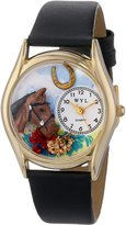 Whimsical Watches Kids' C0110007 Classic Gold Horse Head Black Leather And Goldtone Watch