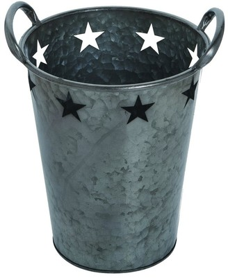 Transpac Metal Medium Pewter 4th of July Star Bucket