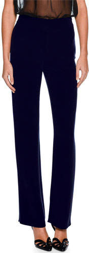 Giorgio Armani Straight-Leg Silk Pants, Dark Navy