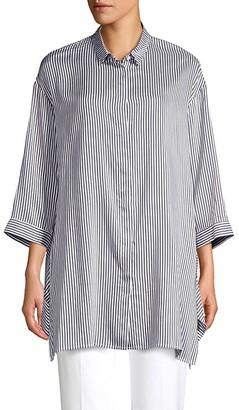 Peserico Striped Button-Down Blouse