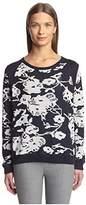 Joan Vass Women's Floral Sweater