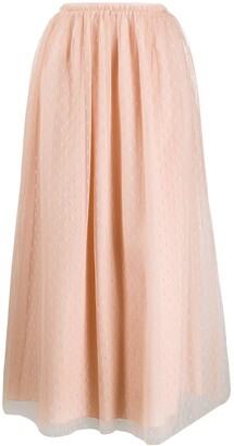 RED Valentino tulle pleated midi skirt