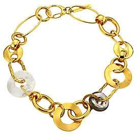 Lizzie Fortunato Women's Solistic Goldplated, Mother-Of-Pearl & Abalone Disc Collar Necklace