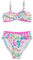 Flapdoodles Girls 7-16 Girls Seahorse Bikini Set