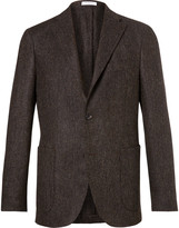 Boglioli Brown Slim-Fit Herringbone Slub Virgin Wool Blazer