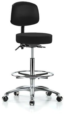 Perch Chairs & Stools Height Adjustable Doctor Stool with Foot Ring Perch Chairs & Stools Color: Black Fabric