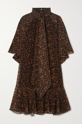 Erdem Elviretta Leopard-print Fil Coupe Chiffon Dress - Leopard print