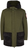 Fendi Army Green Cotton And Shearling Parka