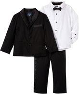 Andy & Evan Four Piece Tuxedo Suit Set (Toddler/Kid) - Black-4T