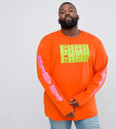 Puma Plus Graphic Long Sleeve T-Shirt With Arm Print In Orange Exclusive To Asos