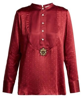 Figue Milagro Polka-dot Silk-satin Shirt - Womens - Burgundy