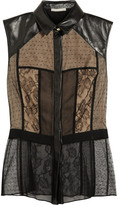 Jason Wu Leather-trimmed lace and tulle top