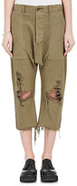 R 13 Women's Distressed Washed Cotton Canvas Utility Pants
