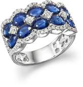 Bloomingdale's Diamond and Sapphire Double Row Ring in 14K White Gold - 100% Exclusive